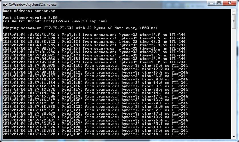 PING se zobrazením data a času (PING with Timestamp)