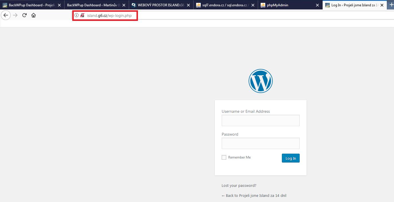 Přihlašovací údaje - Migrace WordPressu
