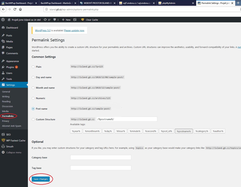 Permalinks / trvalé odkazy  - Migrace WordPressu
