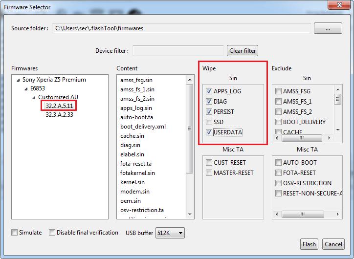 firmware selector