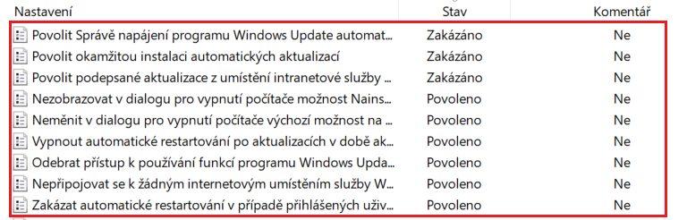 vypnutí aktualizací Disable Windows Updates