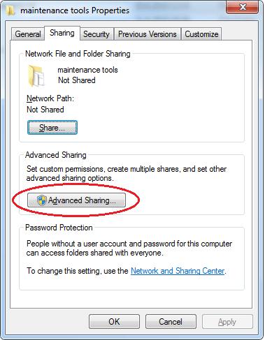 Pokročilé Sdílení / Advanced Sharing / Sdílení složek ve windows
