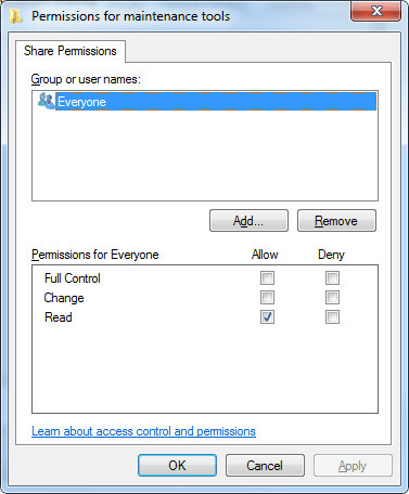 Everyone / Sdílení složek windows