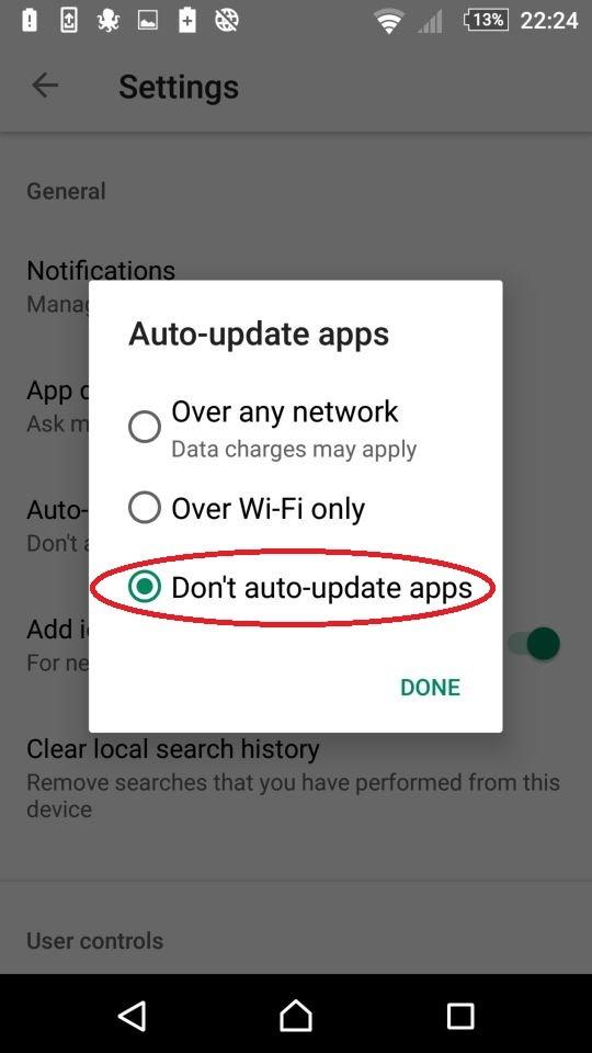 Neaktualizovat aplikace automaticky (Don't auto-update apps)