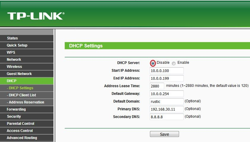 TP-Link DHCP disable