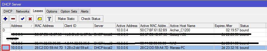 statický DHCP záznam