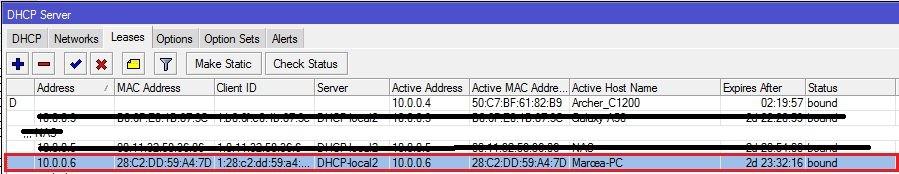 DHCP záznam