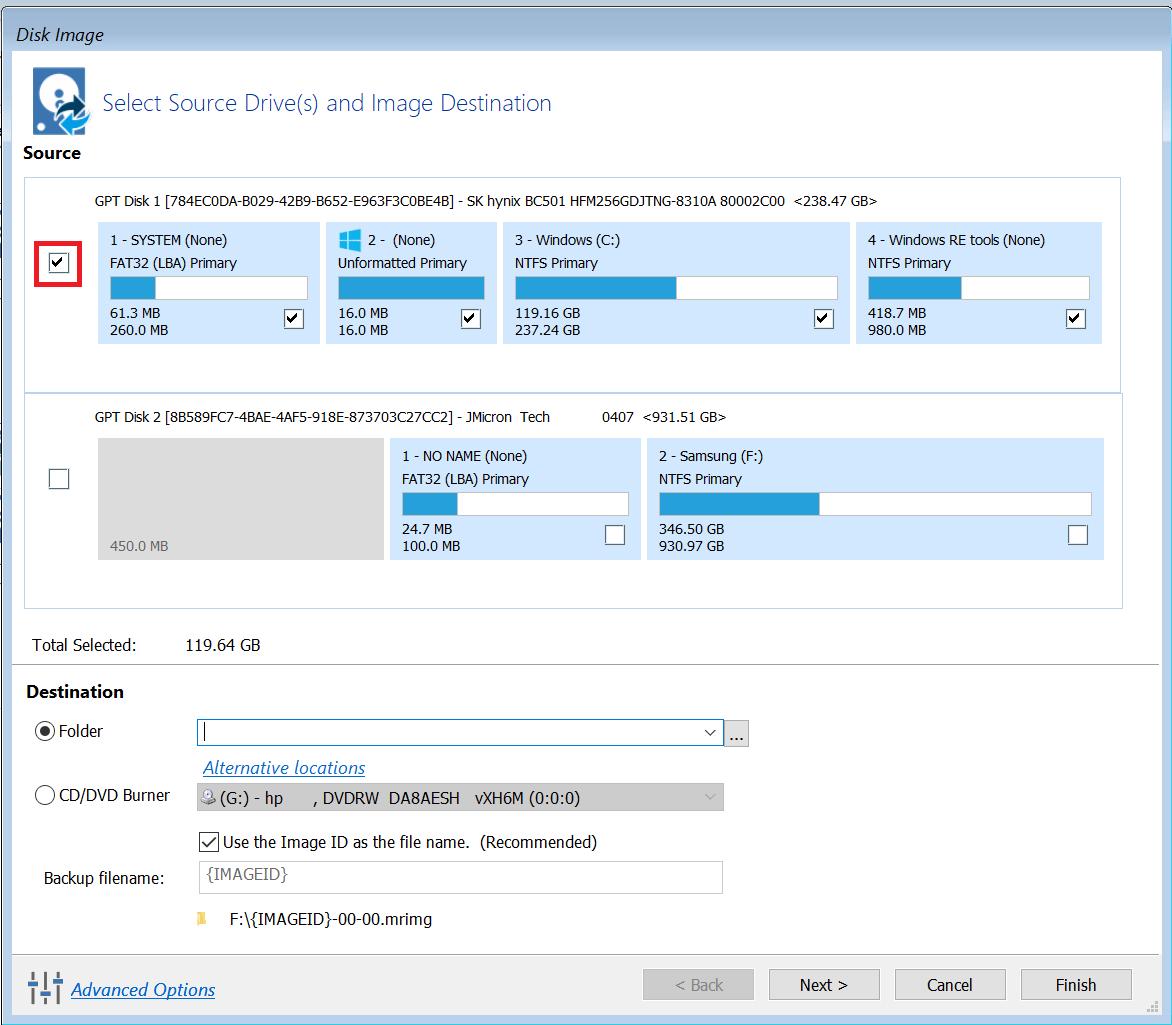 Záloha disku - backup