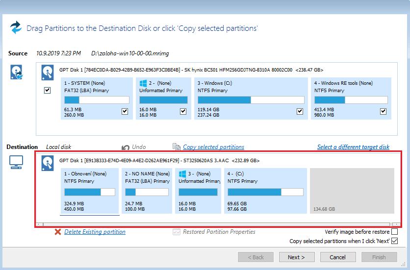 Obnova dat - restore