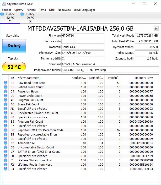 Test rychlosti - SSD Micron 1100 M.2 256GB