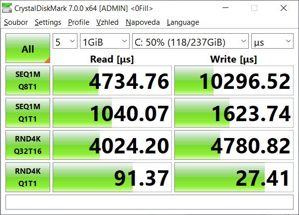 Test rychlosti - SSD SK Hynix BC501 256GB M.2