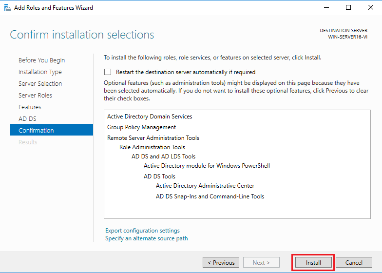 Active Directory Domain Services - confirmation