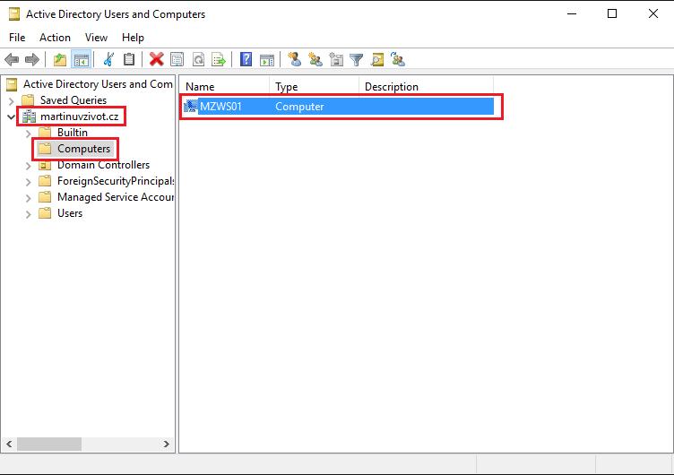 Join a Computer to a Domain, Přidání počítače do domény Active Directory Users and Computers