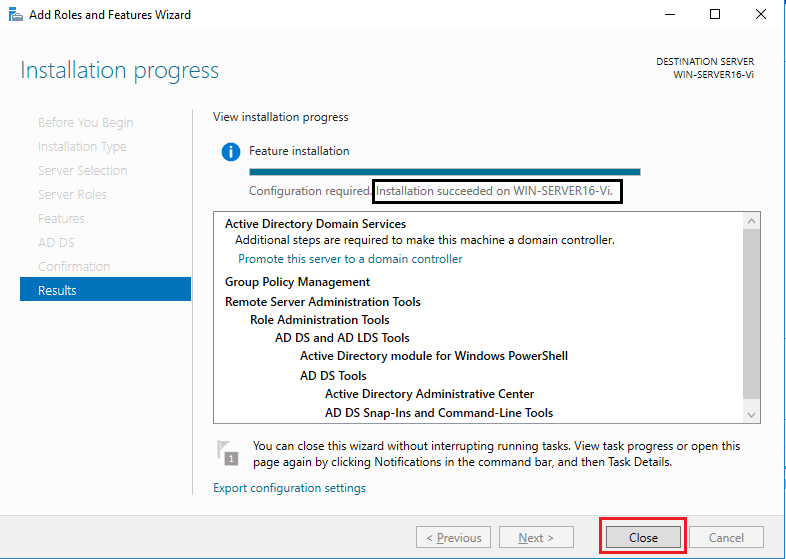 Active Directory Domain Services - installation succeeded