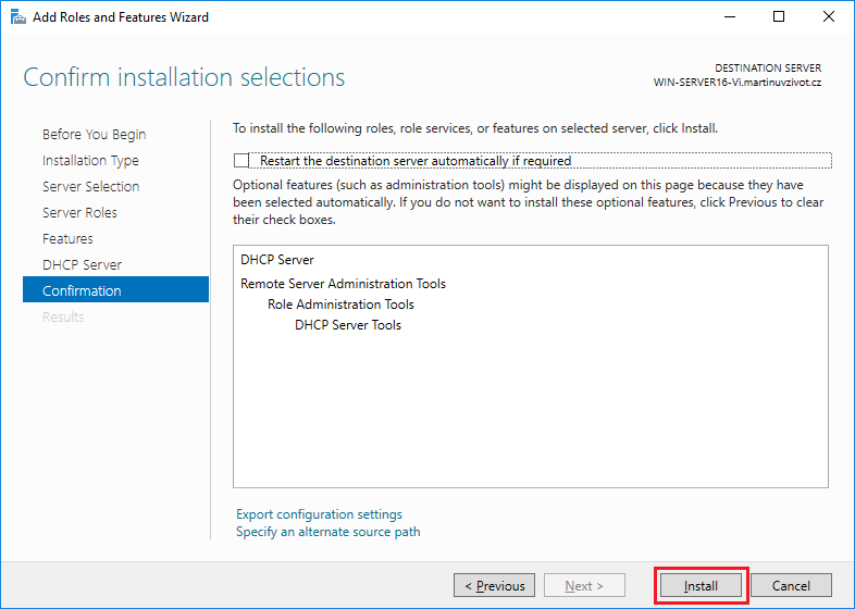 Windows Server 2016 - Instalace DHCP