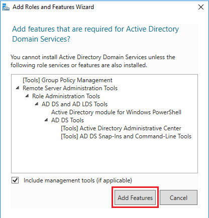 Active Directory Domain Services - add features