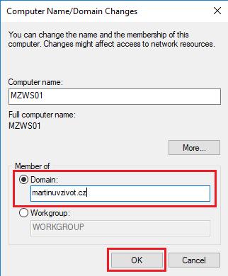 Join a Computer to a Domain, Přidání počítače do domény