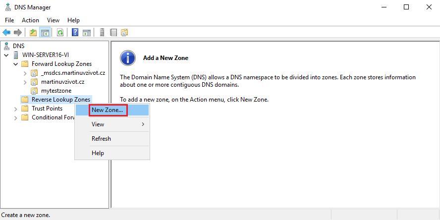 Vytvoření DNS revezní zóny (Create DNS zone)