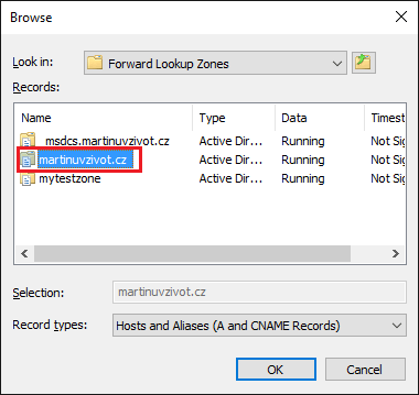 DNS Forward Lookup Zones