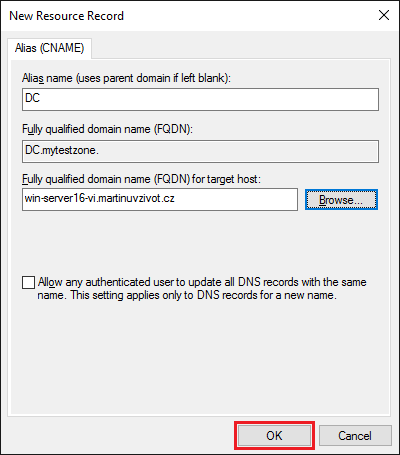 Create a DNS record - CNAME