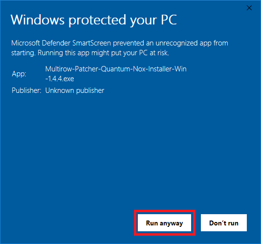 Windows protected your PC - Run anyway