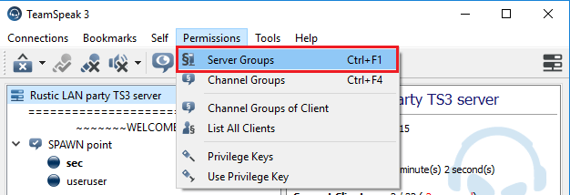 TeamSpeak Server Groups