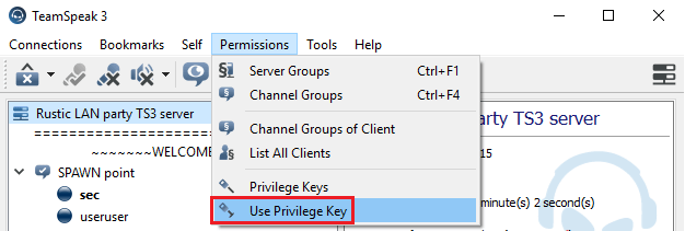TeamSpeak Privilege Key