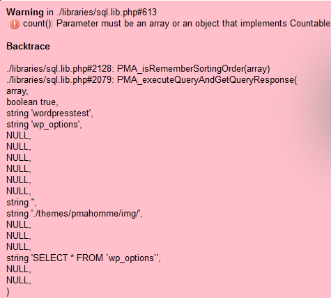 Warning in ./libraries/sql.lib.php#613