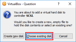 VirtualBox - Choose existing disk