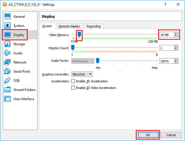 VirtualBox - Invalid settings detected