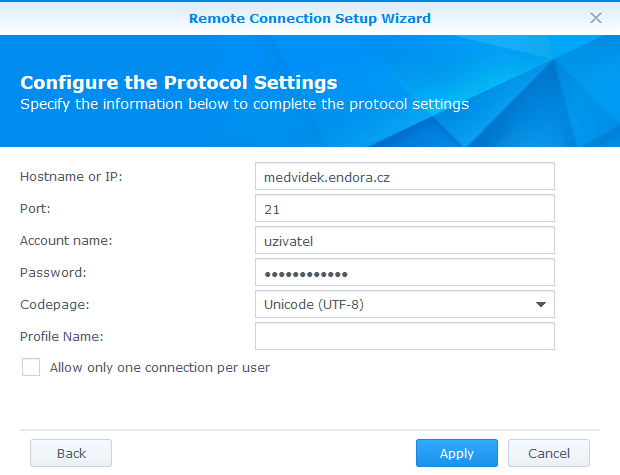 NAS Synology FTP client
