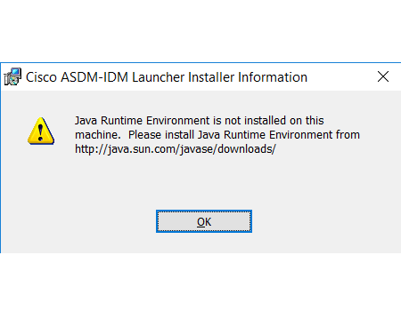 Java Runtime Environment is not installed on this machine